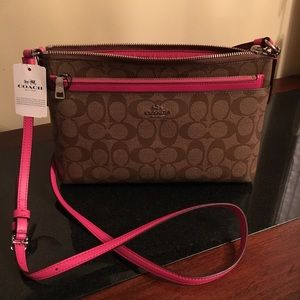Coach Bag Signature Series Brown Pink trim & Strap